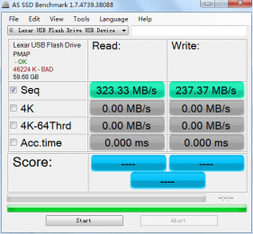 lexar jumpdrive p20 - as ssd test